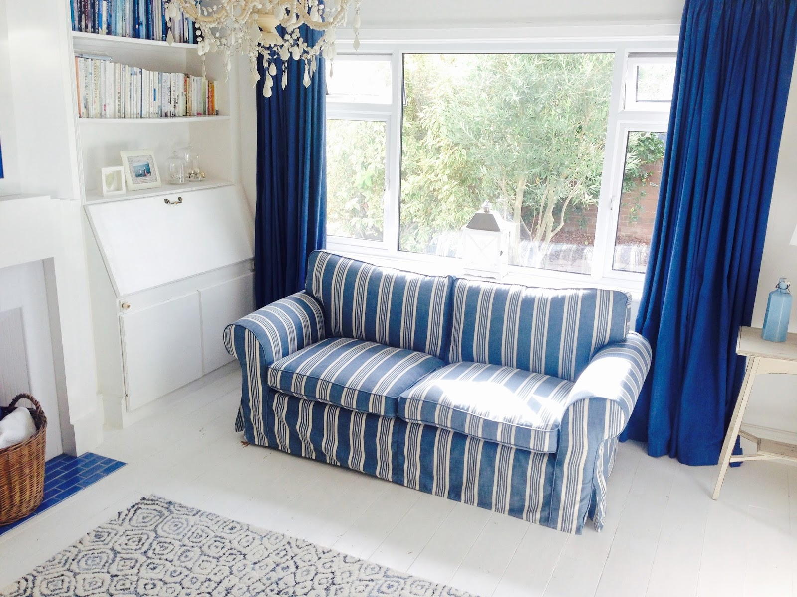 White And Blue Sofa Paris Leather Striped