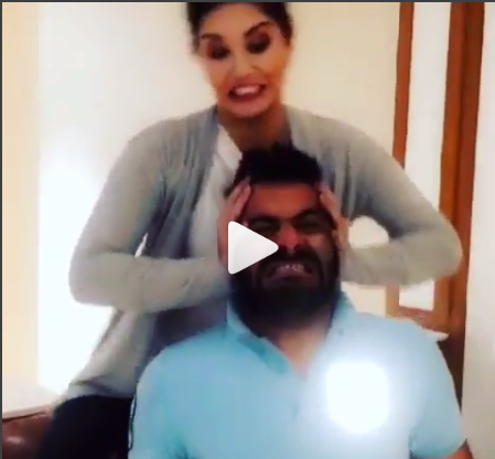 The Great Khali has some serious competition.  Sunny Leone has posted a video on her Instagram account taking a dig at him.  Mimicking Great Khali's vice grip, she pushes Bollywood casting director Sunny Rajani to the floor and smothers him, while thumping her hand to count the seconds.
