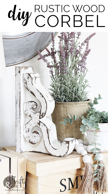 DIY rustic wood corbels. How to make wood corbels. DIY architectural salvage. Wood corbel tutorials. DIY farmhouse decor and projects. Scrap wood project ideas. White and chippy wood corbel.
