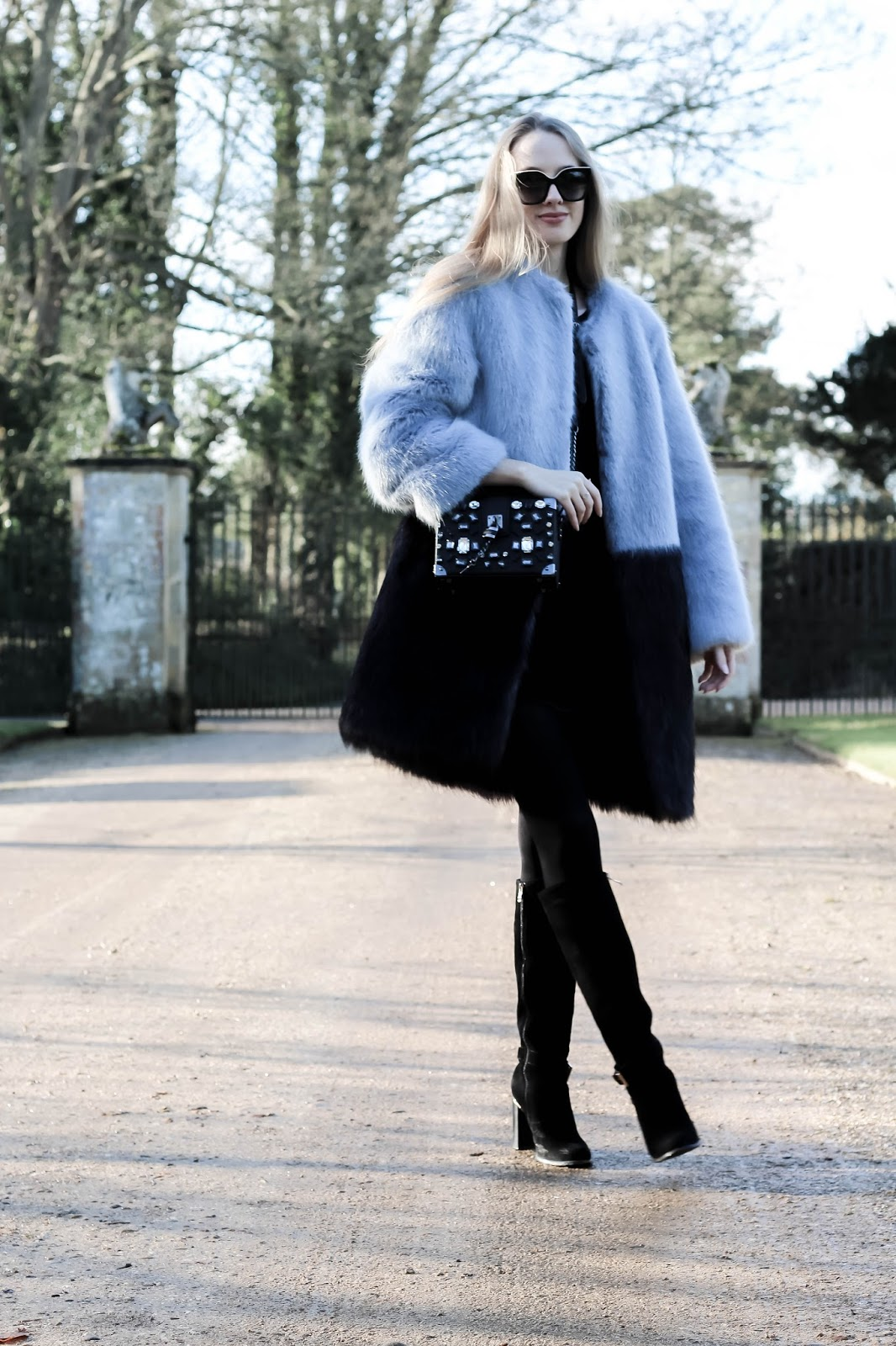 Fashion Blog How To Style Two Tone Faux Fur Coat