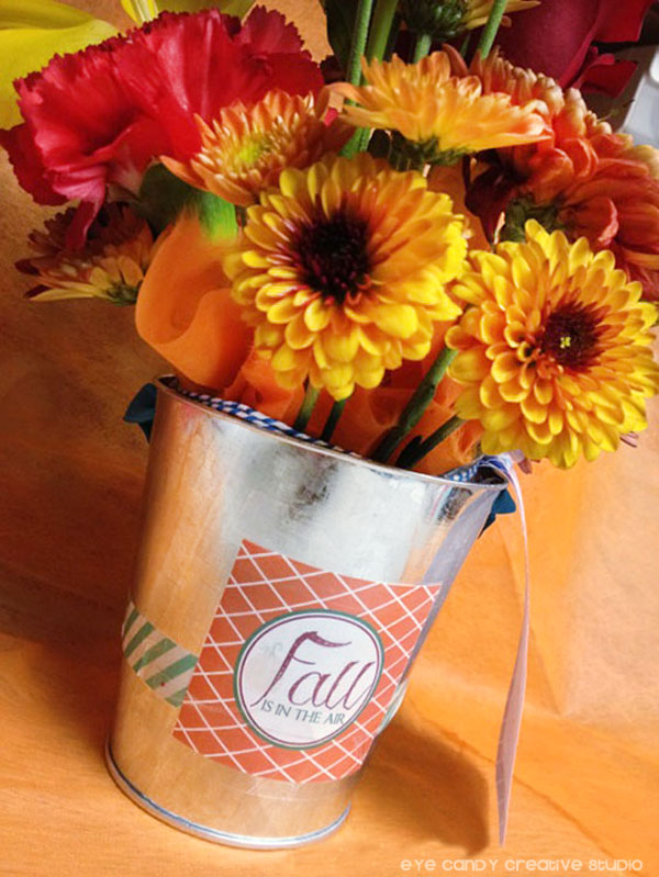 washi tape decorating, fall flower bouquet, teachers gift, fall gift tags