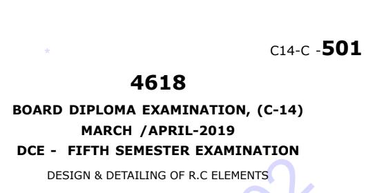 Sbtet Design & Detailing Of R.C Elements Previous Question Paper March/April-2019
