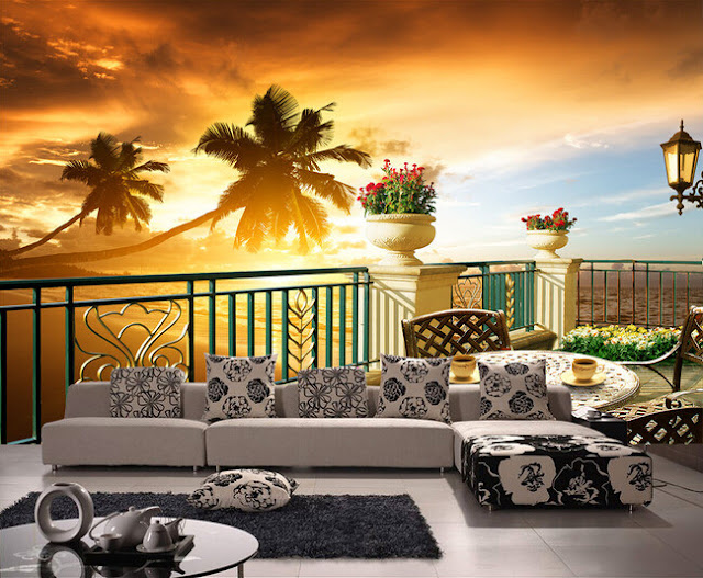 Scenic Wall Murals Tropical 3D Photo Wallpaper Bedroom Wall Murals Livingroom Sunset
