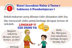 LENGKAP !!! Kunci Jawaban Kelas 2 Tema 1 Subtema 3 Pembelajaran 1