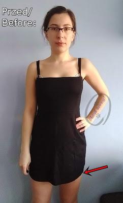 przedłużanie za krótkiej sukienki DIY u dołu - Adzik tworzy