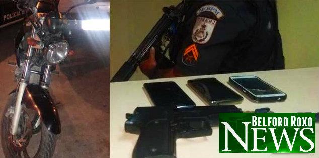 Polícia prende dois homens com moto e celulares roubados em Belford Roxo