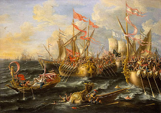 The Battle of Actium, as depicted by the 17th century Flemish painter Laureys a Castro