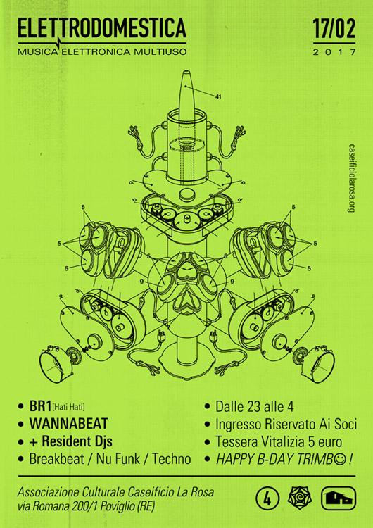 Elettrodomestica - DJ set con BR1 e DJ della casa, venerdì 17 febbraio 2017 al Caseificio la Rosa di Poviglio (RE)