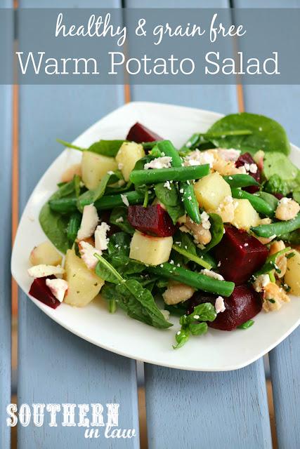 Healthy Warm Potato Salad Recipe - gluten free- grain free, low fat, vegetarian, meat free, meatless, side dish, green beans, beetroot, feta cheese, cannellini beans