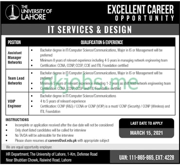 Latest The University of Lahore Management Posts 2021 Ad1