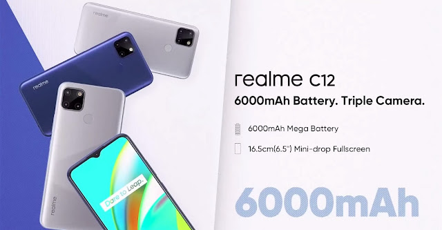 Realme C12 Launched With 6.5inch Mini Drop Display, Triple Camera, 6000mAh Battery For Rs. 8,999/- Only