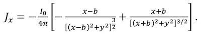 A mathematical expression for the current density in the saline surrounding a nerve axon.