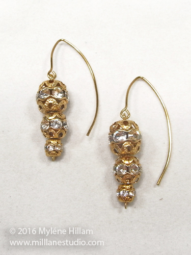 Gold filigree and crystal rondelle elfin earrings