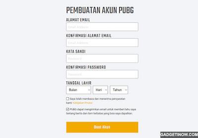 cara membuat akun PUBG Lite
