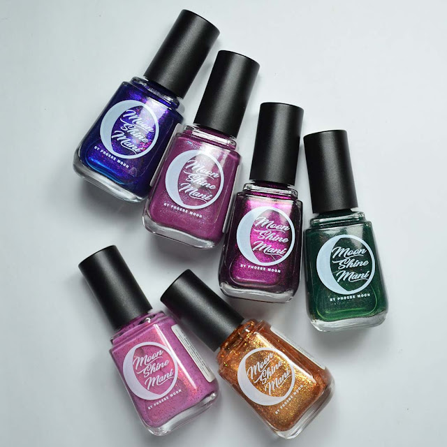 nail polish bottle flat lay with assorted colors
