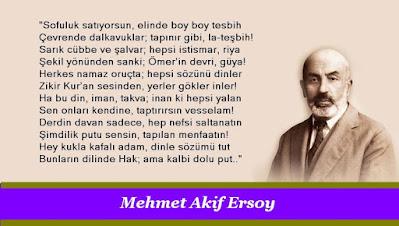 şiir, mehmet akif ersoy, istiklal şairi, sofuluk, cemaat, tarikat, siyasal islam, din tüccarları,