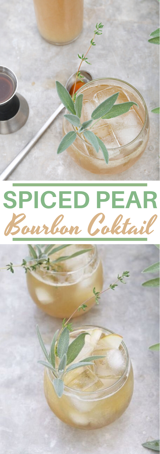 Spiced Pear Bourbon Cocktail #drinks #cocktails #alcohol #fall #beverages