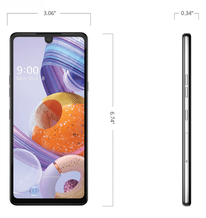 Dimensions of the Stylo 6