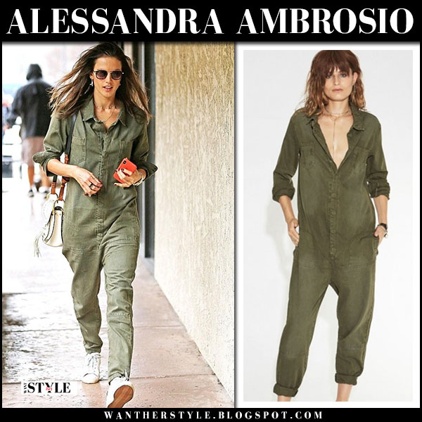 Alessandra Ambrosio in green utility jumpsuit and white sneakers golden goose model street fashion march 21
