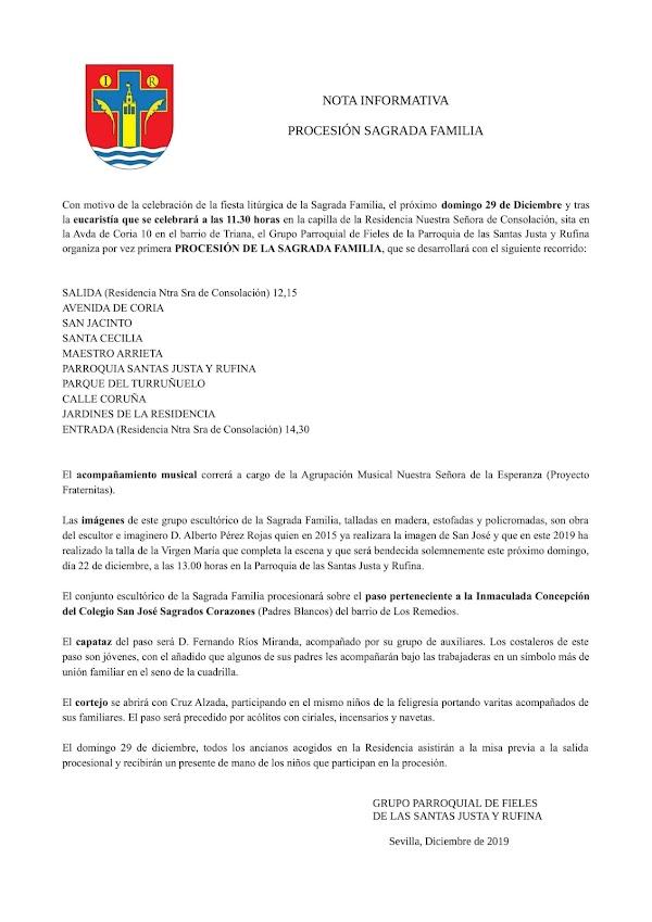 Todos los Datos de la Procesión de la sagrada familia en su primera salida procesional en Sevilla