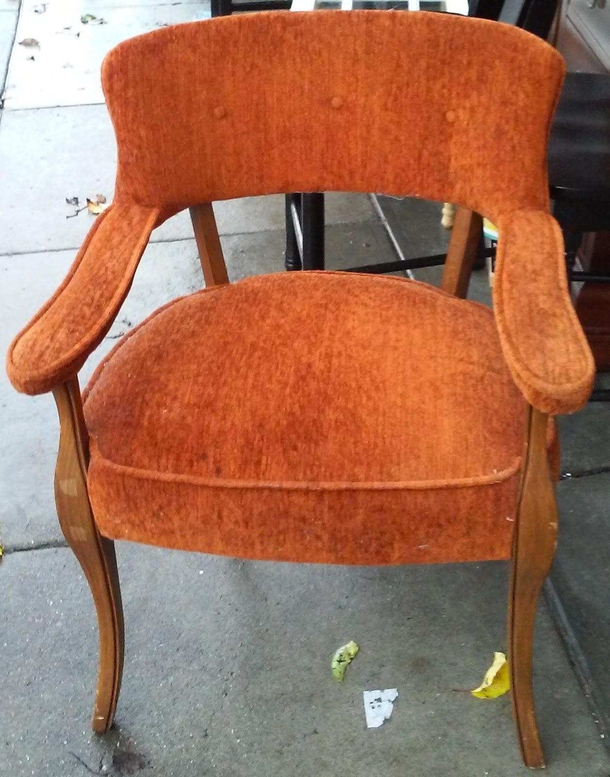 Uhuru Furniture Collectibles Sold Vintage Burnt Orange Armchair 45
