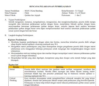 RPP Daring Fikih Bab Qurban dan Aqiqah (Kelas 10 MA)