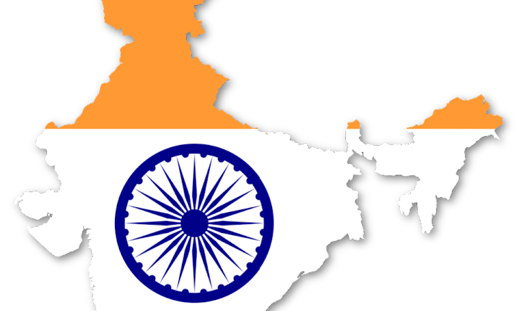 Flag Map of India