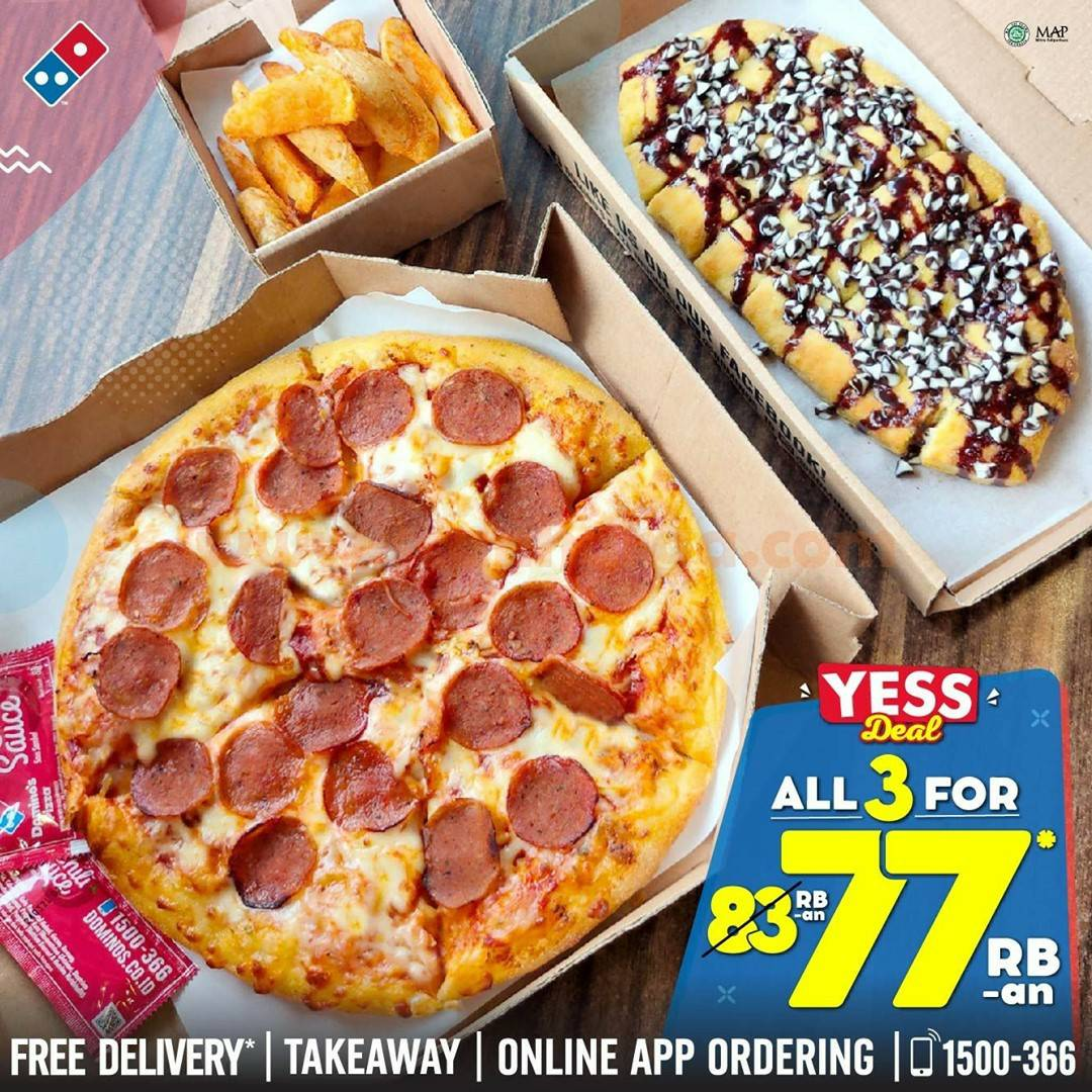 Dominos Pizza Promo YESS DEAL All 3 For 77 RB-an*