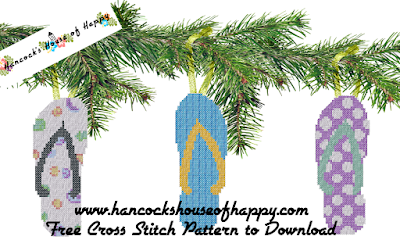 free Christmas flipflops cross stitch pattern