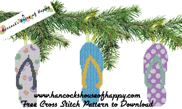 Free Cross Stitch Flipflops Pattern to Give Your Cross Stitch Christmas Tree Some Tropical Vibes