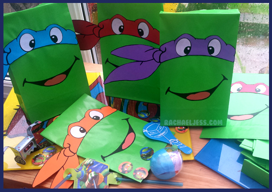 How I made teenage mutant ninja turtle party bags