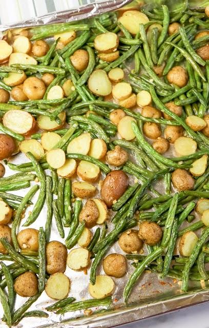 vegetables roasted on a baking sheet