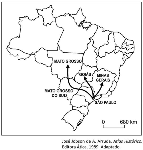 Unichristus 2021: Esse mapa registra, na história colonial, deslocamentos de interiorização típicos dos