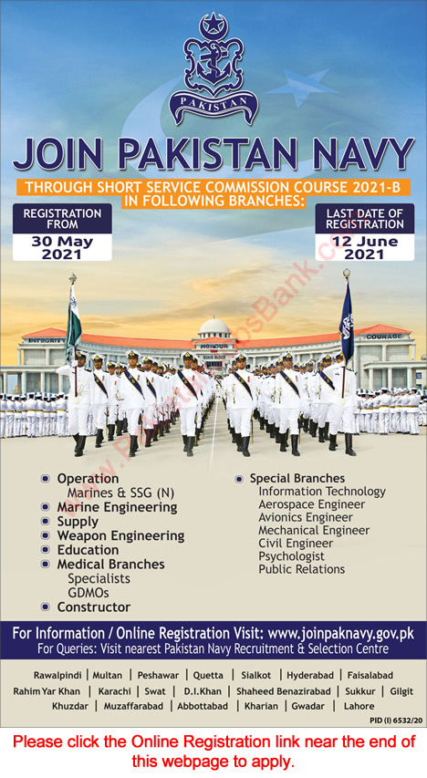 Join Pakistan Navy through Short Service Commission Course 2021-B Online Registration Latest