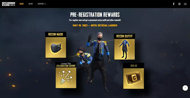 Players were get exciting rewards if they pre registered on Battlegrounds Mobile India. Some rewards like, Recon Mask,  Recon outfit,  Celebration Expert title,  300Ag