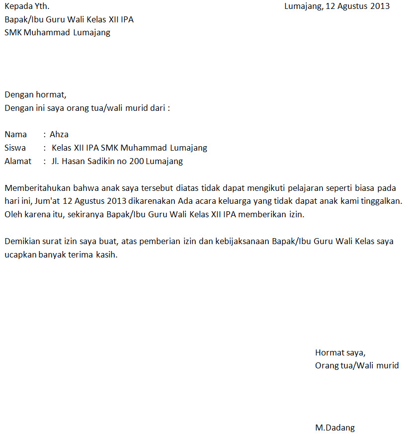 Contoh Surat Izin Tidak Masuk Sekolah Izin