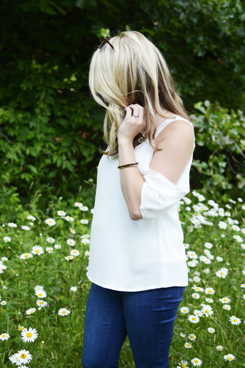 Off the shoulder top and flared jeans