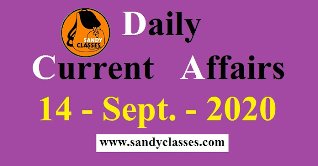 Daily Current Affairs in Hindi / English - 14 September 2020