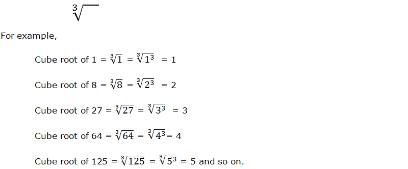 Radical sign of cube root, and examples of cube roots.