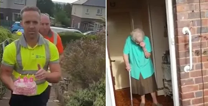 100-Year-Old Lady Cried Tears Of Joy When Garbage Collectors Surprised Her With A Birthday Cake
