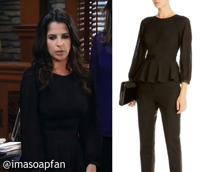 Sam Morgan's Black Peplum Blouse - General Hospital, Season 54, Episode 08/25/16