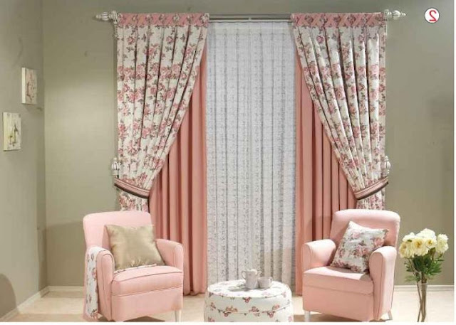 retro print curtains for living room