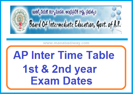 Manabadi AP Inter Time Table 2020 Download