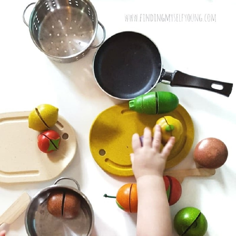 plan toys wooden toy food with pots and pans