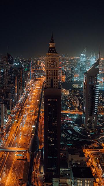 City, Aerial view, Buildings, Metropolis, Lights, Night