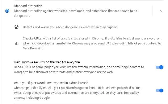 Permite enviar a Google las URLs que visitamos y una información limitada sobre ellas para ayudarnos a detectar nuevas amenazas. Mostrar avisos cuando usemos contraseñas inseguras o las claves que tenemos guardadas hayan sido expuestas en un robo de base de datos.