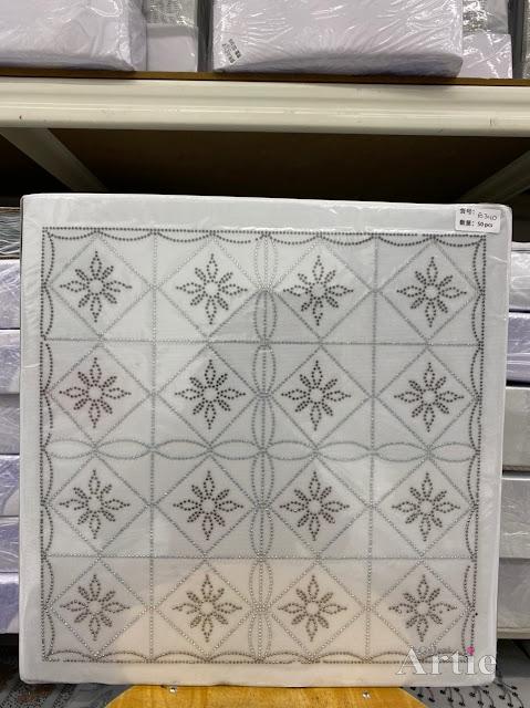 Hotfix stickers dmc rhinestone aplikasi tudung bawal fabrik pakaian rekaan geometrik kotak & bunga gold on silver/dark gray