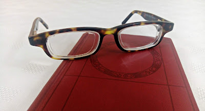Tortoiseshell Eyejuster eye glasses, resting on a small red book.