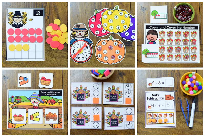 Kindergarten Math Activity Center for November