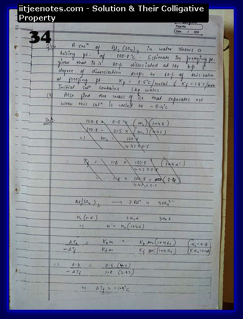 Solution and Their Colligative Property Notes IITJEE2